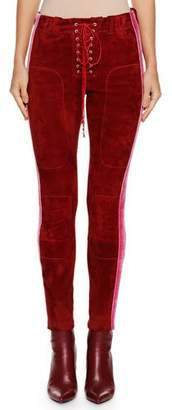 Unravel Lace-Up Side-Stripe Suede Football Pants
