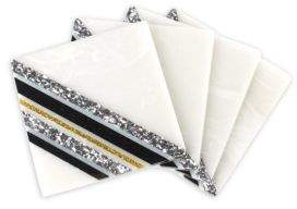 Edie Parker Four-Piece Striped Square Coasters Set