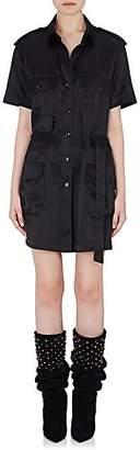 Saint Laurent Women's Saharienne Silk Satin Belted Cargo Dress - Black