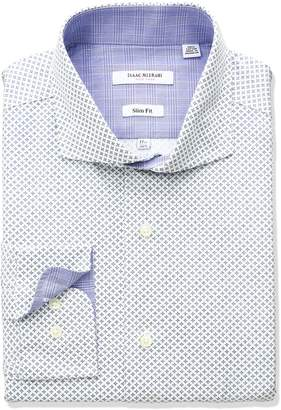 Isaac Mizrahi Men's Slim Fit Printed Square Diamond Cut Away Collar Dress Shirt