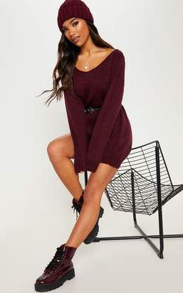PrettyLittleThing Burgundy Soft Knitted Off the Shoulder Mini Dress