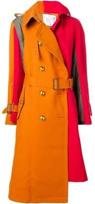 Sacai asymmetric double-breasted coat