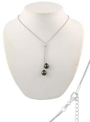 Splendid Pearls 9-10mm Double Black Tahitian Pearl Pendant Necklace