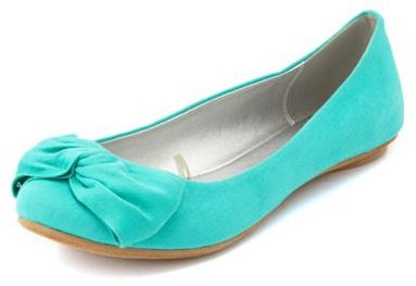 Charlotte Russe Twisted Bow Canvas Flat