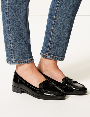 Marks and Spencer Wide Fit Leather Patent Loafers