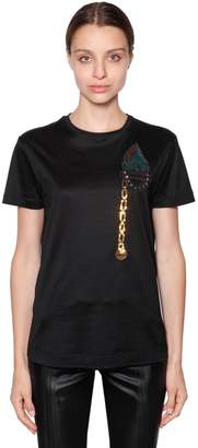 Marco De Vincenzo Sequined Patch Cotton Jersey T-Shirt