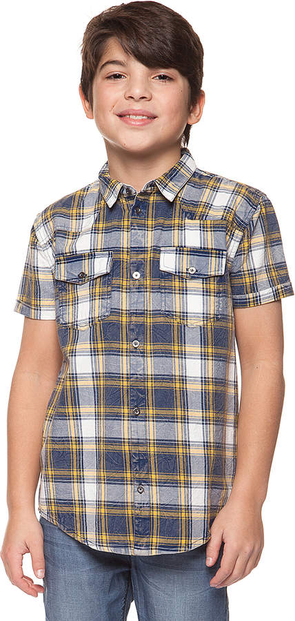 Royal & Yellow Plaid Button-Up - Boys