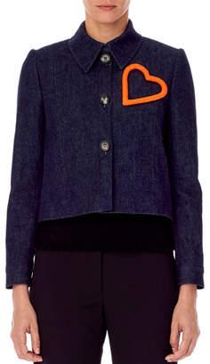 Carolina Herrera Heart-Embellished Cropped Denim Jacket