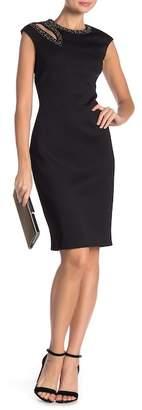 Calvin Klein Cutout Embellished Cap Sleeve Dress