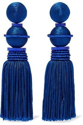 Oscar de la Renta Gold-Tone Cord And Bead Tassel Clip Earrings