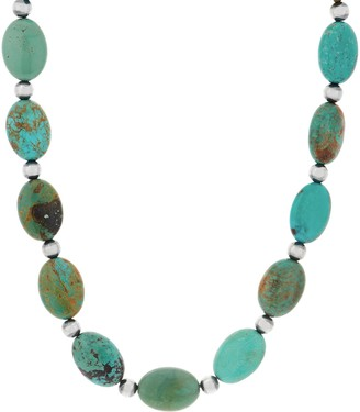 American West Turquoise Bead Sterling Silver Statement Necklace