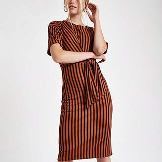 River Island Red rib stripe tie front midi dress