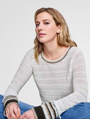 White + Warren Corded Cotton Hand Crochet Trim Crewneck
