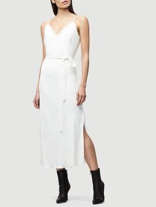 Frame Denim Satin Tie Slip Dress Off White