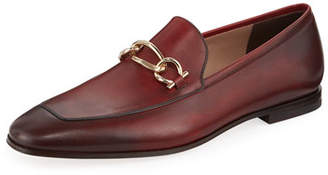 Salvatore Ferragamo Men's Burnished Leather Loafer with Chain Bit