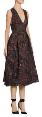 Monique Lhuillier Jacquard Midi Dress
