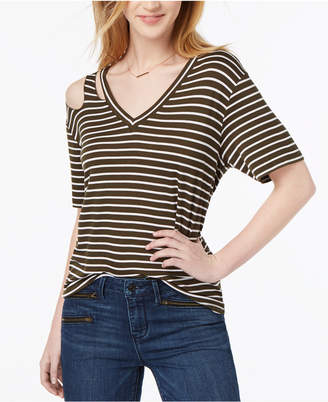 Ultra Flirt Juniors' Striped Cutout T-Shirt