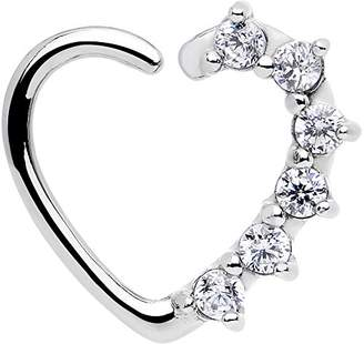 Body Candy Women's 16 Gauge Clear Heart Left Closure Daith Cartilage Tragus Earring Body Piercing Barbell