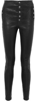 J Brand Natasha Button-Detailed Leather Skinny Pants