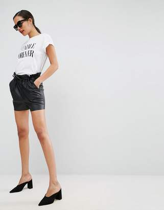 Asos DESIGN Leather Look Shorts with Paper Bag Waist