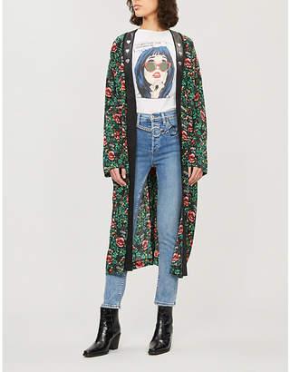 The Kooples Floral-print silk-chiffon kimono jacket