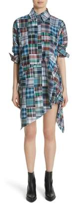 Marques Almeida Marques'Almeida Asymmetric Patchwork Plaid Shirtdress