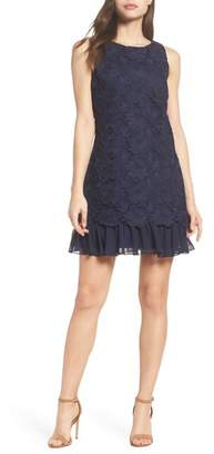 Eliza J Lace Ruffle Hem Sheath Dress