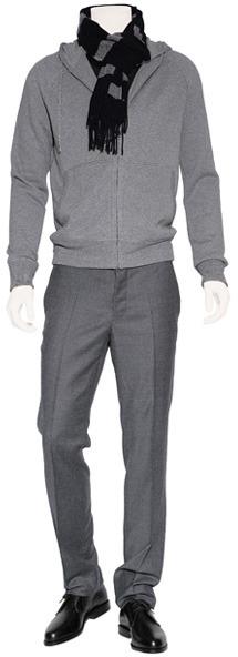 Jil Sander Grey Mélange Hooded Cardigan