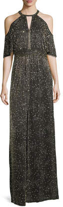 Parker Black Amy Beaded Cold-Shoulder Evening Gown