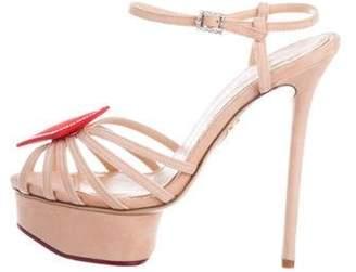 Charlotte Olympia Embellished Platform Sandals red Embellished Platform Sandals