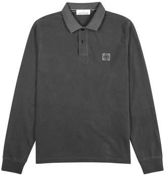 Stone Island Charcoal Faded Cotton Polo Shirt