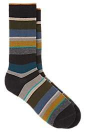 Barneys New York Men's Striped Cotton-Blend Mid-Calf Socks - Gray