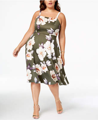 Soprano Trendy Plus Size Floral-Print Midi Dress