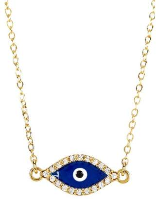 Sterling Forever 14K Yellow Gold Plated Pave CZ Evil Eye Pendant Necklace