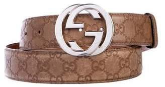 Gucci Leather Guccisima GG Belt