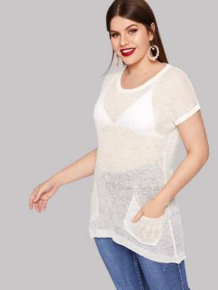Shein Plus Solid Pocket Front Sheer Sweater