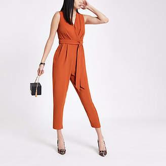 River Island Orange wrap front tie waist jumpsuit