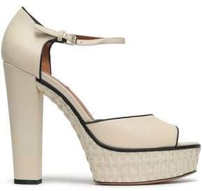 Valentino Leather And Raffia Sandals