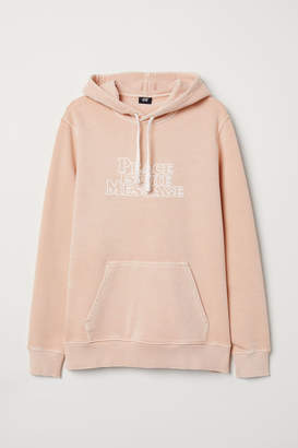 H&M Hooded Shirt with Printed Text - Beige