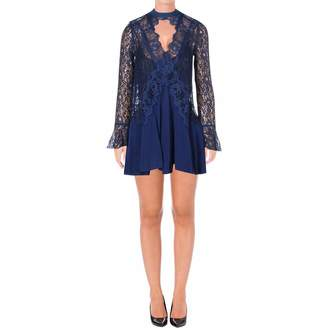 Free People New Tell Tale Black Lace Tunic Dress Mock Neck Keyhole V Cut Out