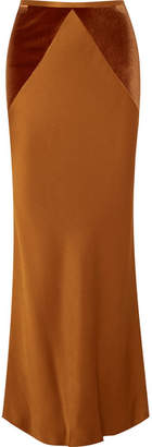 Haider Ackermann Velvet-paneled Satin Maxi Skirt - Copper