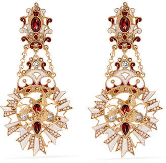 Papi Percossi Gold-plated And Enamel Multi-stone Earrings