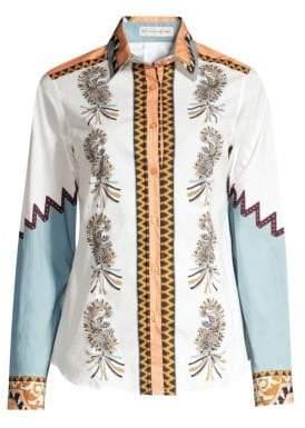 Etro Zig Zag Paisley Print Button-Down Shirt