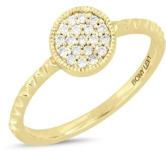 Bony Levy 18K Yellow Gold Pave Diamond Detail Circle Textured Ring