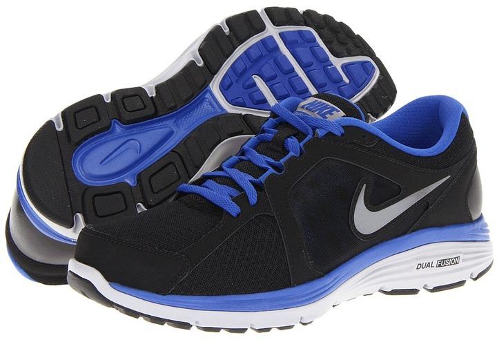 Nike Dual Fusion Run (Black/Game Royal/Wolf Grey/Metallic Cool Grey) - Footwear