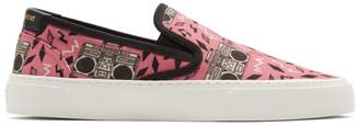Saint Laurent Pink Radio-Print Venice Slip-On Sneakers