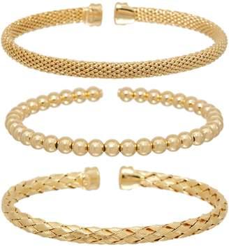 Italian Silver Set of Three Cuff Bracelets, Sterling, Boxed, 27.6g