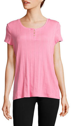 Nautica Striped Cotton-Blend Henley Tee $40 thestylecure.com