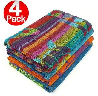Pool' KAUFMAN - Terry Beach & Pool Towel 4-Pack of Assorted Colors - 30in x 60in