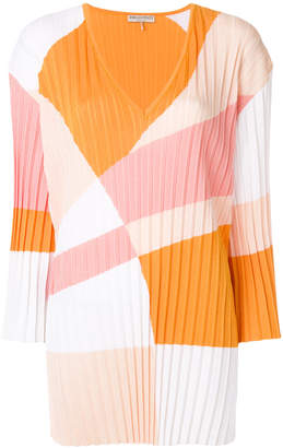 Emilio Pucci colour-block pleated V-neck jumper